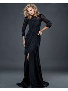 Formal sheath long black jersey evening dress with beaded lace sleeves