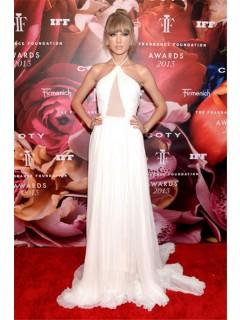 Fragrance Foundation Awards 2013 Red Carpet Taylor Swift Halter Sheer Dress