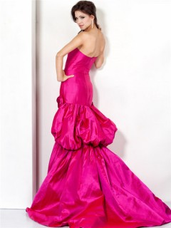 Glamorous Strapless Long Fuchsia Satin Evening Prom Dress With Flowers