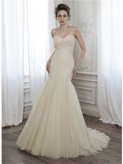 Glamour Mermaid Strapless Champagne Color Tulle Ruched Wedding Dress Corset Back