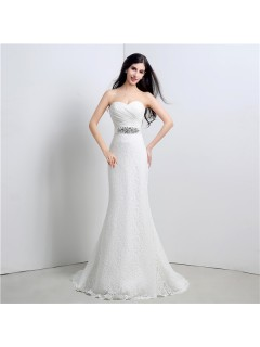 Glamour Mermaid Strapless Corset Back Lace Wedding Dress With Crystals Sash