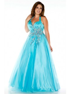 Gorgeous A Line Halter Long Aqua Blue Tulle Unique Beading Plus Size Prom Dress