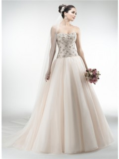 Gorgeous Ball Gown Strapless Drop Waist Organza Heavy Beaded Crystal Wedding Dress