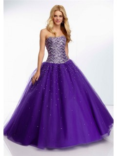 Gorgeous Ball Gown Strapless Long Purple Tulle Beaded Crystal Prom Dress Corset Back