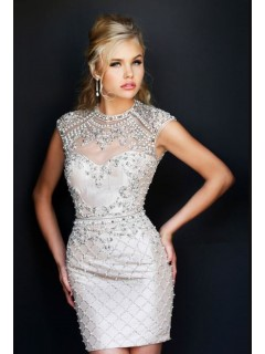 Gorgeous High Neck Cap Sleeve Backless Short Pearl Beaded Cocktail Prom Dress Open Back