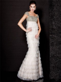 Gorgeous Mermaid Cap Sleeve Empire Waist Long White Tiered Tulle Evening Dress Crystals