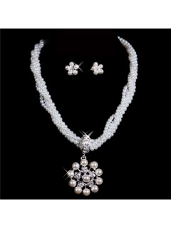 Gorgeous Pearls bridal wedding Jewelry Set Including Necklace,Earrings