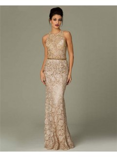 Gorgeous Sheath High Neck Long Champagne Venice Lace Beaded Occasion Evening Dress