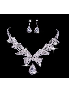 Gorgeous Shining Alloy crystal Wedding Bridal Jewelry Set,Including Necklace And Earrings