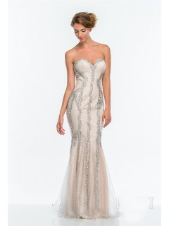 Gorgeous Trumpet Mermaid Strapless Champagne Tulle Beaded Long Evening Prom Dress