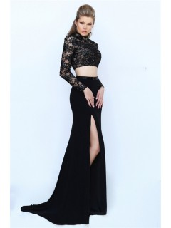 High Neck Open Back Long Sleeve Two Piece Black Lace Evening Prom Dress