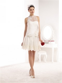 High Neck Sleeveless Short Mini Lace Chiffon Casual Wedding Dress With Belt