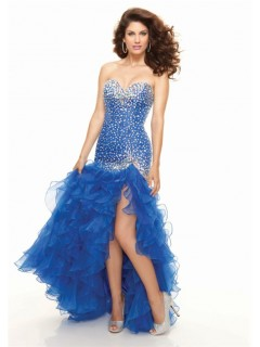 High low sweetheart organza royal blue prom dress with ruffles and beaded