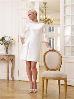 Informal High Neck 3/4 Sleeve Satin Beaded Crystal Short Modest Wedding Dress