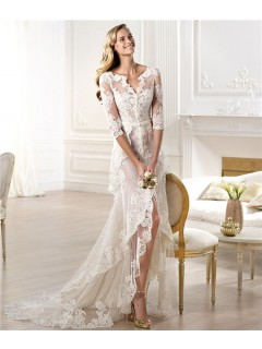 Informal Sheath V Neck High Low Front Slit Lace Wedding Dress With Sleeve