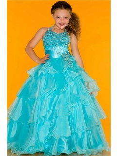 Lovely Princess Ball Halter Aqua Blue Organza Ruffle Girl Pageant Party Prom Dress