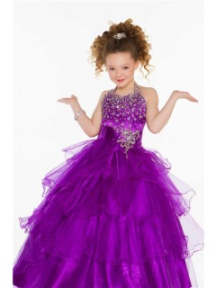 Lovely Princess Ball Halter Purple Organza Ruffle Girl Pageant Dance Prom Dress