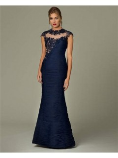Mermaid High Neck Cap Sleeve See Through Navy Blue Lace Formal Evening Dress