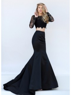 Mermaid High Neck Long Sleeve Two Piece Black Lace Satin Prom Dress