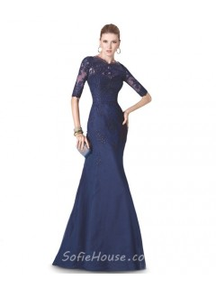 Mermaid High Neck Navy Blue Tulle Lace Long Formal Occasion Evening Dress With Sleeves