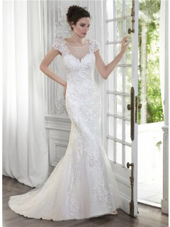 Mermaid Illusion Neckline Open Back Cap Sleeve Lace Wedding Dress
