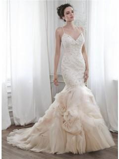 Mermaid Low Back Champagne Floral Organza Ruffle Beaded Wedding Dress Spaghetti Straps