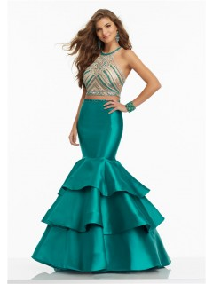 Mermaid Open Back Two Piece Jade Satin Ruffle Tiered Prom Dress With Beading