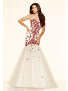 Mermaid Strapless Corset Champagne Satin Tulle Red Beaded Prom Dress