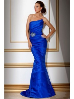Mermaid Strapless Long Royal Blue Tiered Evening Wear Dress With Beading