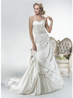 Mermaid Sweetheart Corset Back Draped Satin Wedding Dress With Lace Sleeve Jacket