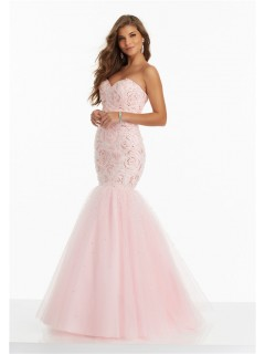 Mermaid Sweetheart Corset Back Light Pink Tulle Floral Beaded Prom Dress