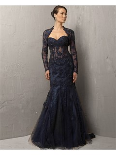 Mermaid Sweetheart Long Navy Blue Lace Beaded Evening Dress With Bolero Jacket