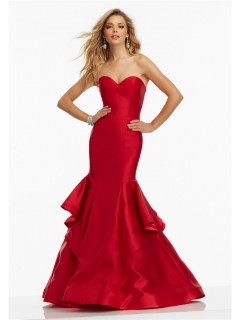 Mermaid Sweetheart Red Satin Ruffled Prom Dress Lace Up Back