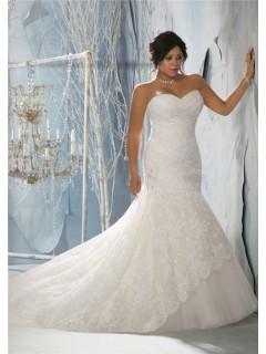 Mermaid Trumpet Sweetheart Corset Back Women Plus Size Lace Wedding Dress Sparkle