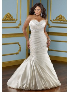 Mermaid Trumpet Sweetheart Empire Satin Ruched Plus Size Wedding Dress With Belt