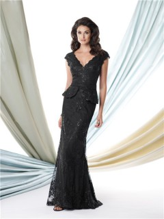 Mermaid V Neck Cap Sleeve Peplum Black Lace Mother Of The Bride Evening Dress