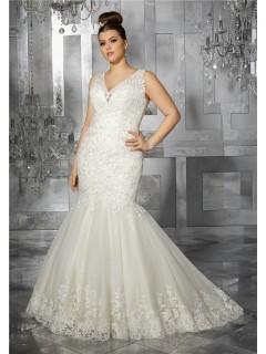 Mermaid V Neck Illusion Back Sleeveless Tulle Lace Plus Size Wedding Dress