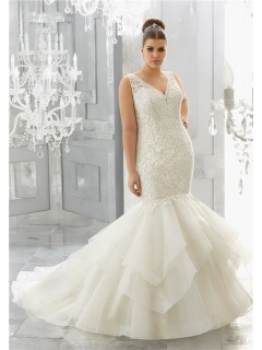 Mermaid V Neck Open Back Lace Organza Ruffle Layered Plus Size Wedding Dress