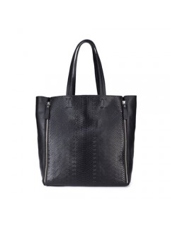 Modern Royal Queen Black Cowhide Leather Women Handbag