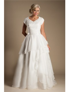 Modest A Line Sleeve Organza Ruffle Layered Wedding Dress With Sash