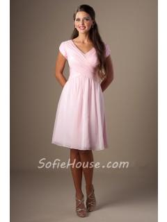 b1ad77588d8 Modest A Line V Neck Cap Sleeve Light Pink Chiffon Ruched Short Bridesmaid  Dress