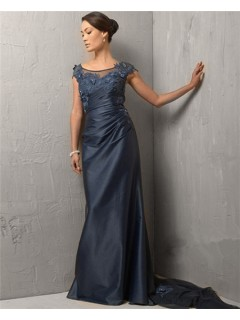 Modest Bateau Cap Sleeve Long Navy Blue Evening Dress With Train