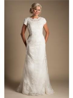 Modest High Neck Full Back Short Sleeve Ivory Lace Wedding Dress