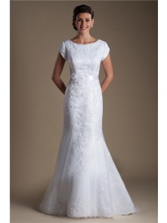 Modest Mermaid Bateau Neck Cap Sleeve Lace Wedding Dress With Flowers Sash