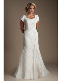 Modest Mermaid Cap Sleeve Corset Back Lace Draped Wedding Dress