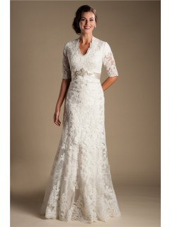 Modest Mermaid Short Sleeve Lace Wedding Dress With Crystals Belt