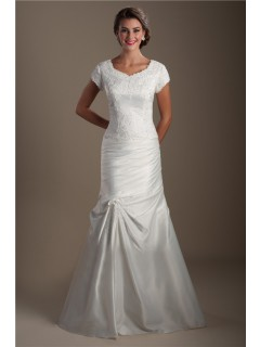 Modest Mermaid Taffeta Ruched Applique Wedding Dress With Sleeves