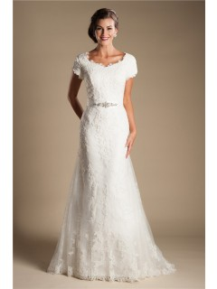 Modest Scalloped Neck Short Sleeve Lace Wedding Dress With Crystals Belt