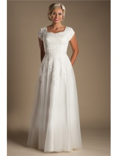Modest Sheath Cap Sleeve Tulle Lace Wedding Dress Without Train