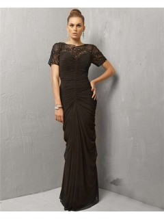 Modest Sheath Long Black Chiffon Beaded Evening Wear Dress With Sleeve